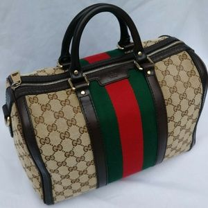 Gucci medium vintage original GG web Boston bag